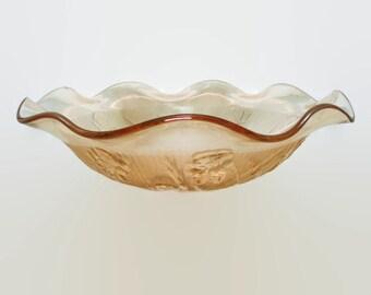 Iris and Herringbone Marigold Iridescent Ruffled Bowl, Jeannette Glass Iris Carnival Glass Bowl