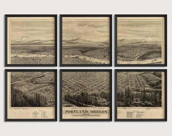 Old Portland, Oregon Map Art Print 1879 Antique Map Archival Reproduction - Bird's Eye View - Set of 6 Prints