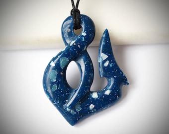 Fish hook, Hei matau, Maori hook, Maori necklace, Blue pendant, Blue necklace, Blue jewelry, Men necklace, Corian pendant, Maori twist