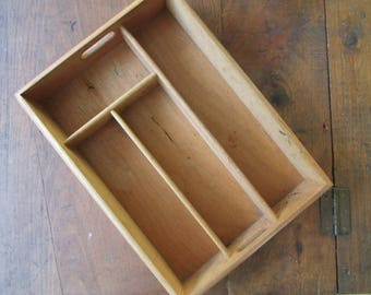 Wood Utensil Drawer Tray Vintage Organizer Divided Drawer Wooden
