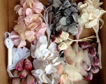 Floral Arranging Destash Sale Lot Ivory Velvet Leaf Stems Mixed Craft Supplies Silk Flowers for DIY Wedding Bridal Sash, Headband, Corsage
