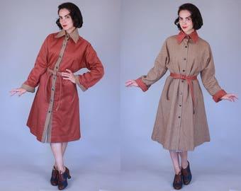 1970s Double Agent trench | vintage 70s herringbone & rust reversible belted coat | medium