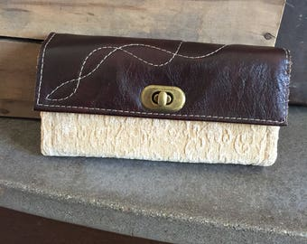 SHIPS TODAY Mom Wallet in Upholstery Fabric w/ Brown Leather Flap