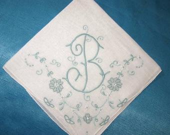 Monogrammed handkerchiefs, bridal hankies, blue initial b letter vintage hankerchiefs