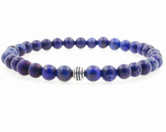 Men's 6mm Lapis Lazuli Beaded Bracelet
