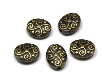 9 beads oval bronze metal, size 11mm x 9mm