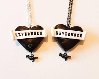 Raven Necklace, Edgar Allen Poe, Nevermore Necklace, Black Heart Necklace