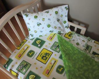 Toddler Bed JOHN DEERE Farm Animal Fabric Baby Crib Bedding Set Large Rag Quilt Sheet &  Pillow Case