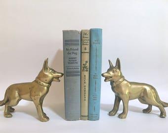 Pair of Vintage Brass German Shepherds