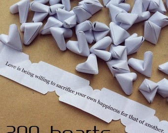 200 luxury paper origami heart love quotes - wedding - simple decor - free delivery - wedding favour
