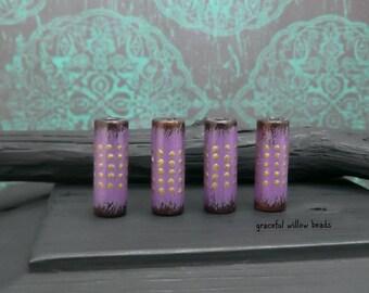 Purple Brown Brass Polka Dot Wood Tube Bead - Hand Painted Rustic Bohemian Wood Bead - 20x7mm - Pkg. 4