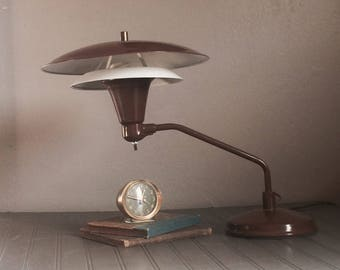 Vintage Mid Century Atomic Flying Saucer Lamp Table Desk Lamp UFO Sight Light