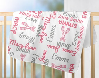 Personalized Ballet Shoes Baby Blanket - Ballet Receiving Blanket  - Custom Ballerina Blanket - Newborn Swaddling Blanket - Baby Photo Prop