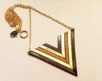 Black camel leather and gold geometric necklace chic