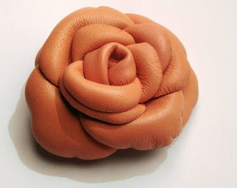 Peach colored lambskin leather brooch