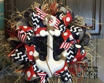 Nautical Wreath Door Wreath Anchor Wreath Beach Wreath Deco Mesh Wreath Burlap Wreath