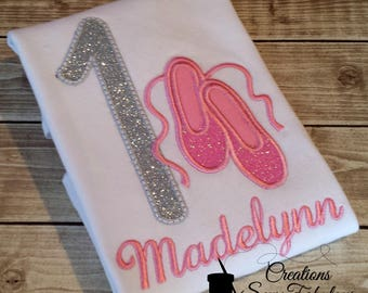 Ballerina Birthday Shirt - Girls Ballet Shirt - Ballet Birthday - Personalized Ballerina Shirt - Dance - Ballet - Glitter Shirt - Monogram