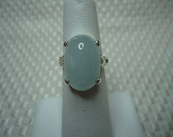 Oval Cabochon Cut Santa Maria Aquamarine Ring in Sterling Silver  #2049