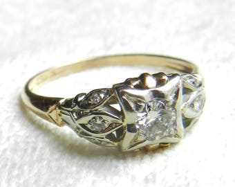 Engagement Ring Antique Engagement Ring Diamond Ring Art Deco Ring Old Cut Diamond Ring 14K Edwardian Ring 1920s Art Deco Engagement
