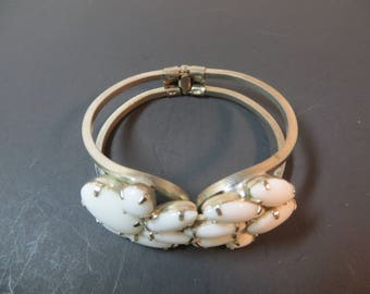 Vintage Milk Glass Double Flower Hinged Bracelet