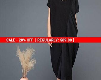 womens dresses, linen dress, black dress, pocket dress, loose dress, maxi dress, midi dress, summer dress, pluse size dress, dress  C1148