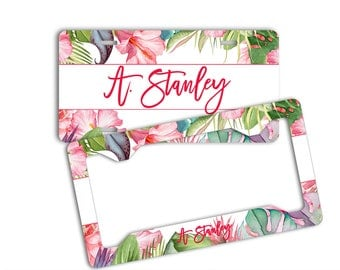 Monogrammed tropical pink license plate, Pink front car tag, Christmas present For Her, Car plate with name, Pink auto accessories (1804)