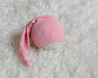 RTS Peachy pink hat Baby girl long tail hat Newborn baby photography prop upcycled style Sleepy topknot hat