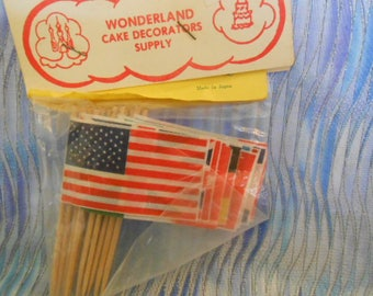 12 Flags Of The World Caup Cake Picks-Vintage-Shipping Included