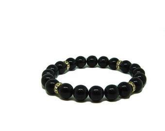 ON SALE Black Agate Beaded Bracelet