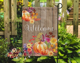 Welcome Fall Garden Flag - Home Decor - House Warming - Yard Flag - Weathered Wood - Fall Pumpkins - Autumn Welcome Flag