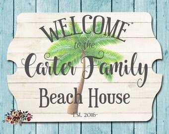 Custom House Sign - Personalized - Palm Tree Beach House Sign - Beach Cottage - Home Decor - Seashells - Family Beach House Sign