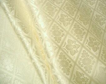 RARE Cream Reversible Hanabishi Vintage Japanese rinzu silk kimono fabric for shiromuku
