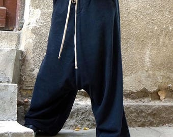 SALE NEW Fall Winter Collection Cotton Black Harem Pants / Extravagant Drop Crotch Pants / Side Pockets Trousers /French Terry  by AAKASHA A