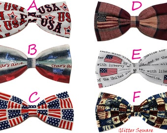 Patriotic Hair Bow- American Stars and Stripes Flag Hair Bow- American Flag Hair Bow- Old Country Flag- Barrette, Alligator Clip, Headband