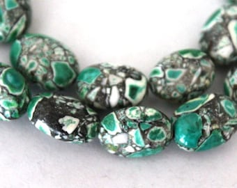 14 mm Green Mosaic Flower Turquoise Oval Beads