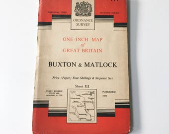 Vintage 1953 Paper Ordnance Survey Map of Buxton and Matlock, Derbyshire