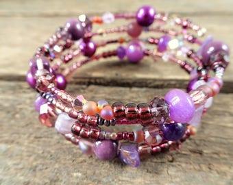 Purple Memory Wire Bracelet, purple bracelet, beaded bracelet, memory wire, purple, boho bracelet, gift for her, purple jewelry,