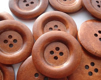 40mm Wooden Sewing Buttons, 4-Hole Round Reddish Brown Buttons, Pack of 10 Wooden Buttons, W4010