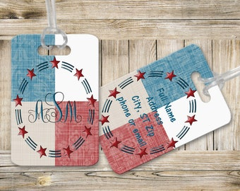 Monogram Luggage Tag - Luggage Tags - Stars and Stripes Luggage Tag - Custom Luggage Tags - Travel Accessories - Personalized Luggage Tags