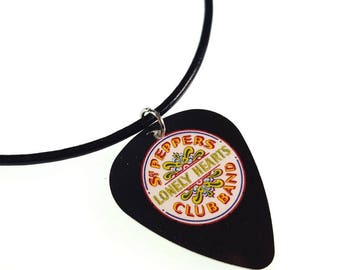 The Beatles SGT PEPPERS Album Cover Art Genuine Guitar Pick Necklace