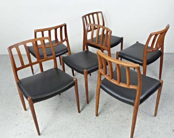 free shipping set 6 mid century danish modern restored jl moller 83 teak black leather