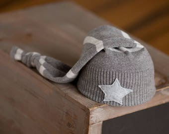 Newborn Boy Hat, Gray Newborn Hat, Upcycled Newborn Hat, Newborn Photography Prop, Newborn Star Hat, Newborn Knot Hat, Striped Newborn Hat