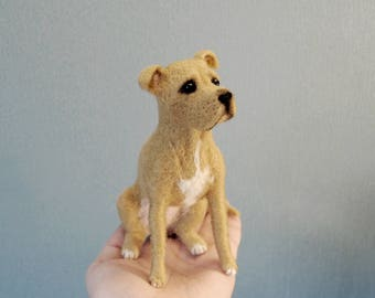 Custom Made Dog, Needle Felted Dog, Commission Dog Portrait ; Pit Bull Terrier or any other breed - made to order