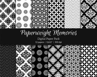 "Digital patterned paper - Always Black - digital scrapbooking - scrapbook paper - 12x12"" 300dpi  - Commercial Use"