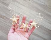 Beach wedding Headpiece Ivory Starfish Hair Accessories Beach Bride Crystal Headband Shell jewelry Bridal Hairpiece Mermaid Crown hair vine