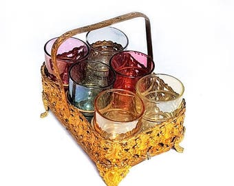 SALE Rare French Multicolor Glasses liquor cabaret set with ormolu stand,antique French liqueur glasses,Aperitif Service set