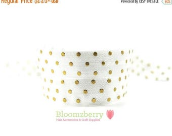 "Summer SALE 10% OFF 5/8"" PRINTED Fold Over Elastic -White Gold Dots - Gold Polka Dots Elastic -Printed Elastic - White Elastic - Hair Access"