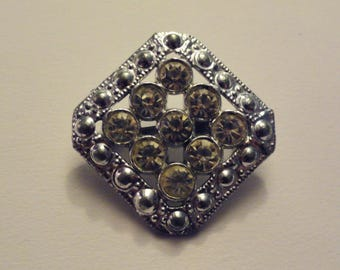 Vintage Silver Tone Diamond Shaped Rhinestone Brooch Pin