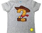 Custom COWBOY Birthday Shirt TEE with Name on Back Woody birthday shirt Toy Story Birthday Shirt