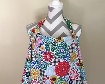 Nursing cover- floral breastfeeding cover floral hooter hider with a fabric flower clippie - Ready to ship